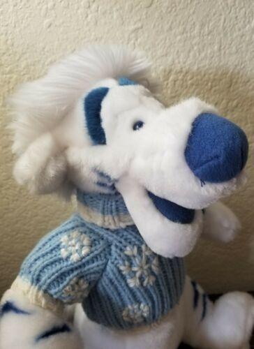 "TIGGER Disney Store Winnie the Pooh  White Plush Blue Sweater Christmas 13"""