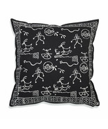 Farmhouse CHAKRA COTTON THROW PILLOW Country White Black Abstract Cushio... - £28.92 GBP