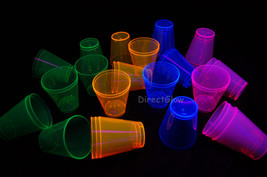 2oz 40 Count Neon Assorted Blacklight Reactive Plastic Shot Glasses - $7.50