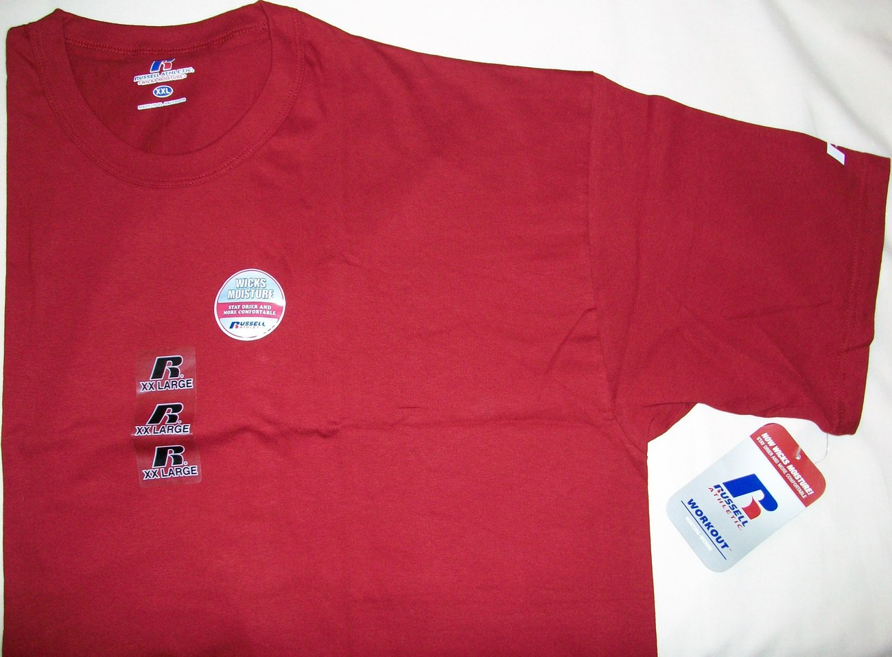 RUSSELL ATHLETIC WORKOUT MOISTURE-WICKING T-SHIRT CARDINAL RED NEW 67014MR