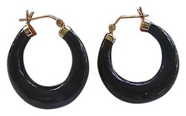 Vintage Black Onyx 14k Yellow Gold Hoop Earrings - $150.00