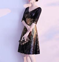 Knee Length Black Gold Sequin Dress Sleeved V Neck Sequin Dress Wedding Dress image 2