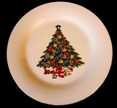 "Vintage Sea Gull Fine China CHRISTmas Tree Plate Gold Trim 10"" ✞  LOWES... - $5.93"