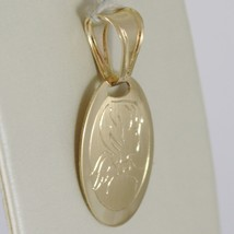 Pendentif Médaille Ovale or Jaune 750 18K, Ange Gardien, Satin, Italie image 2