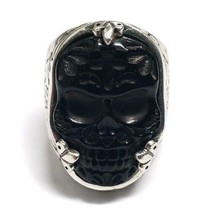 King Baby Studio Sterling Silver Carved JET Day of The Dead Skull Ring S... - $875.00