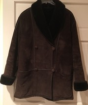 Talbots Brown Suede Double Breasted Coat Large - $49.49