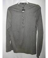 Allegra K  Henley Shirt Gray Heathered Snap Button Long Sleeve M 38 New - $19.79
