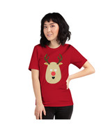 Christmas Reindeer on a Red Unisex T-Shirt