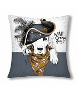 InterestPrint? Portrait of a Dog Wearing Gray Pirate Hat and Brown Necke... - $18.63 CAD