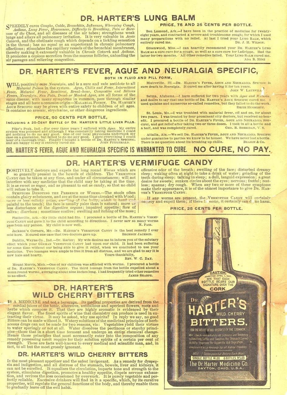 Dr Harter's bitters advertising sheet 1860 patent medicine antique ephemera