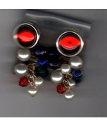 Pierced ears Multi-color Pearl Dangles - $4.00