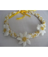 Seashell Necklace Choker HAWAIIAN Plumeria Flow... - $6.00