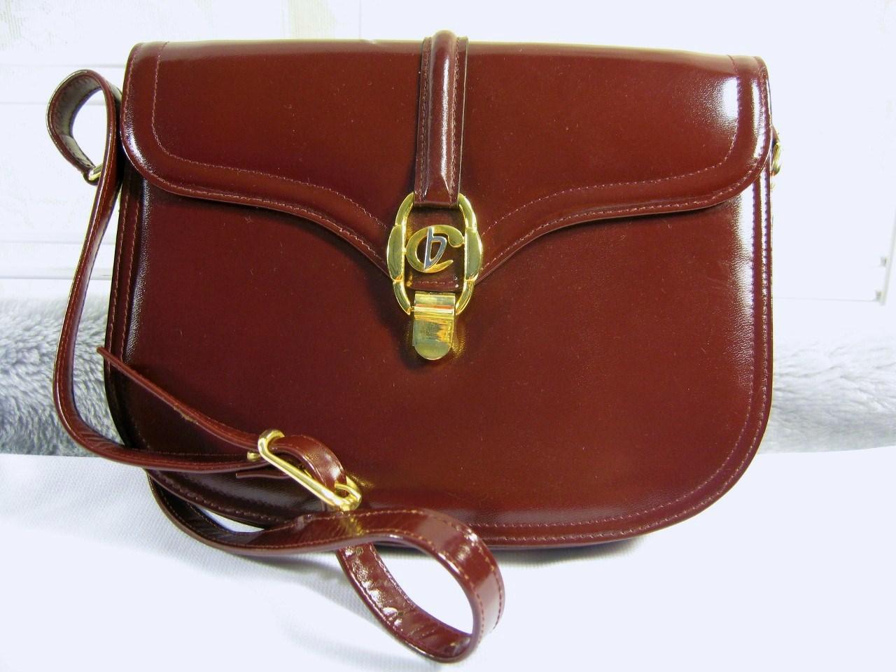 VINTAGE STYLE Chris baleen Italiana burgundy LEATHER GOLD BUCKLE STRIP HAND BAG
