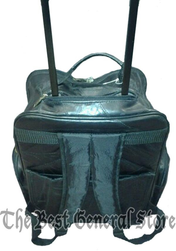 "19"" Black Leather Rolling Backpack Tote Carry On Trolley Bag with Wheels Luggage"