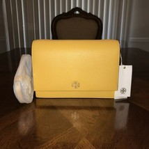 NWT Tory Burch Georgia Pebbled Leather Combo Crossbody in Cassia/Yellow  - $261.44