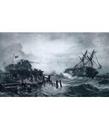 DENMARK Marine Storm Damaged Hulk Towed into Harbor - 1888 Fine Antique ... - $21.60