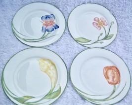 Pier 1 FLORAL Dessert Plates Set 4 Tulip Iris Calla Lily Flower Single Bloom - $40.00