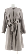 Halston Button Front Trench Coat Roll Tab Slvs Flint Grey 8 NEW A274568 - $86.11