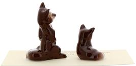 Hagen-Renaker Miniature Ceramic Figurine Fox Papa and Baby 2 Piece Set image 2