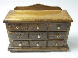 Miniature Dresser Doll House Furniture Wood with Brass Knobs Chest of Dr... - $9.50