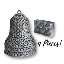 Christmas Ornaments - Set Of 9 Bells - 3 Large Silver Glitter Bells And ... - $12.99
