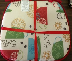 """Set of 4 CHAIR PADS CUSHIONS w/strings, 15"""" x 15"""", COFFEE CUPS, red by BH - $19.79"""