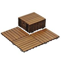 Furinno FG161033 Tioman Outdoor Floor Wood Tile Interlock 10 Piece/CTN, ... - $91.59