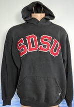 Vtg 90 Russell SDSU Stitched XL Hoodie Pullover Sweatshirt Charcoal Gray... - $29.60