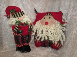 SANTA PILLOW & SANTA DOLL, curly white beard & reds/greens - $9.50