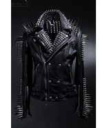 Handmade Men's Black Silver Long Spiked Studded Leather Jacket - $269.99
