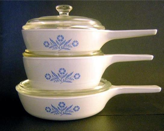 Primary image for Corning Ware Cornflower Menu-ette Set Saucepans P-81-B  USA