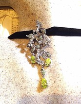 Vintage Genuine Green Garnet Golden CZ 925 Sterling Silver Necklace Choker - $158.40