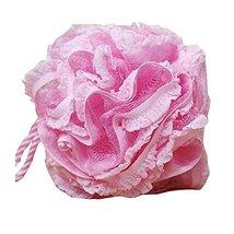 Flower Shape Bath and Shower Sponge Gentle Exfoliating Mesh Bath Sponge (Pink)
