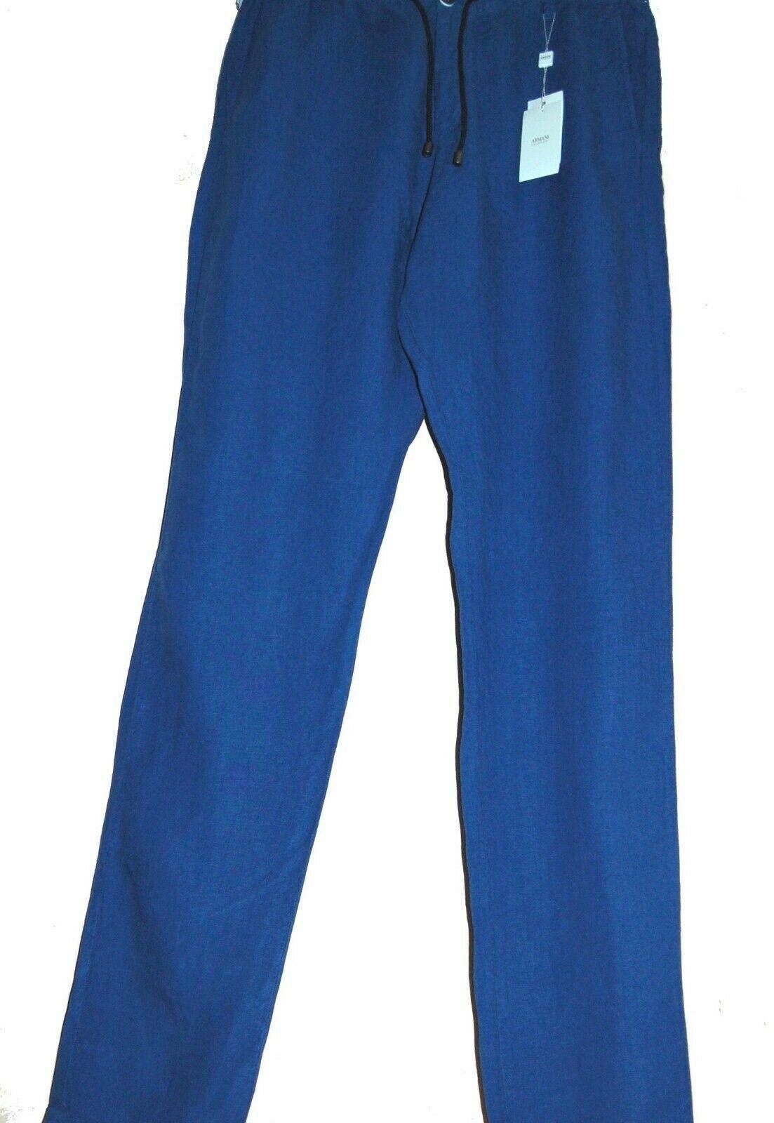 Armani Collezioni Blue Linen Men's Casual Pants  Sz US 34 EU 50  Fit Large $259 - $130.68