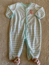 Carters Girls Teal White Striped Ballerina Terry Long Sleeve Pajamas 3 Months - $5.00