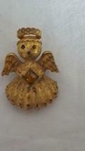 "TINY 1""VINTAGE DESIGNER SIGNED ULTRA ANGEL RHINESTONE BROOCH PIN, GOLD T... - $5.93"