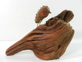 Folk Art Owl Hand Carved Wood on Drift Wood Block - $24.70