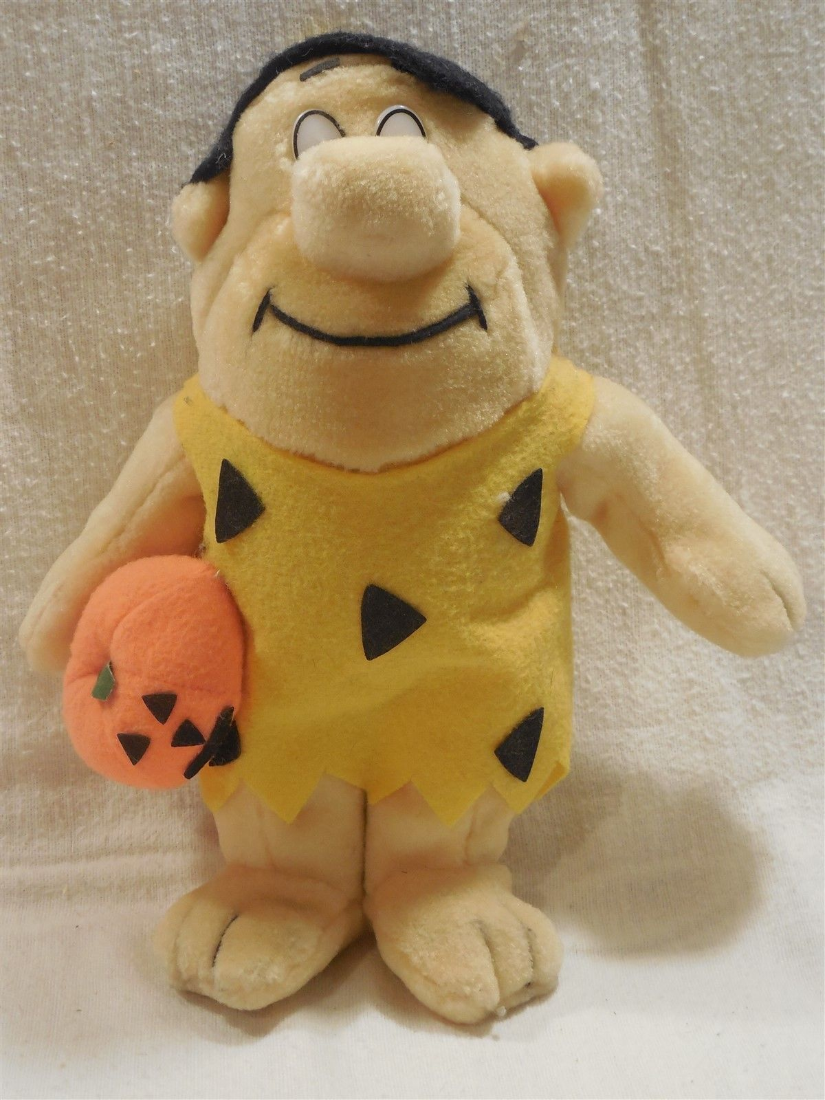 "Flintstones 1989 Nanco 10"" Fred Flintstone Halloween Plush with Jack-O-Lantern"
