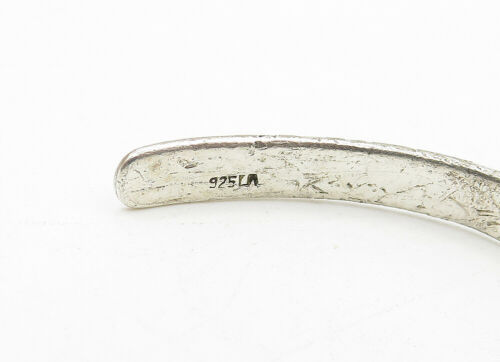 925 LA Silver - Vintage Etched Forever Friends Thin Cuff Bracelet - B6320 image 4