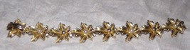 "Vtg 1960s Gold-tone LEAF Link Faux Pearl Bracelet 7"" Costume Jewelry - $8.86"