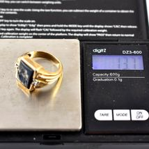 Royal 10k Solid Yellow Gold Hematite Roman Bust with Diamond Accents Ring 10.5 image 8