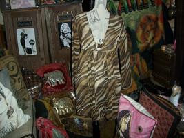ST JOHN SWIM  by Marie Gray Wild Leopard Print Sheer Blouse Size S - $34.65