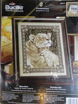 Lioness and Cub Contentment 10 x 12.25 Cross Stitch Kit  Bucilla 2005 - $16.99