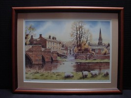 "Framed Signed Ltd Ed Print by British Artist John Rudkin, ""Bakewell"". - $16.99"