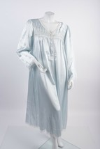 1970 Christian Dior Womens Blue Night Gown Robe Housecoat Large Embroide... - $127.71