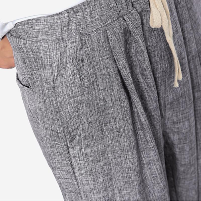 2018 New Summers Linen Pants Men Casual Ankle-Length Harem Pants Solid Linen Cot image 5