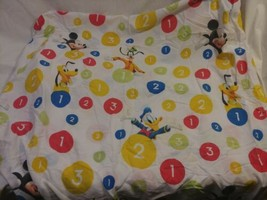 Disney Flat Sheet Mickey Mouse Donald Goofy Pluto Numbers Twin - $19.79