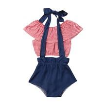 New Summer Newborn Baby Girl Off Shoulder Plaid Crop Tops + Denim Suspen... - $10.99