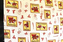 Vtg Fabric Mid-Century Western Americana Rodeo Cowboys 44x72 2 Yards Unused - $21.84