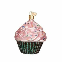 Old World Christmas Chocolate C UPC Ake w/PINK Frosting Glass Xmas Ornament 32195 - $11.88